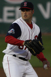 Hernandez pitching for the Salem Red Sox